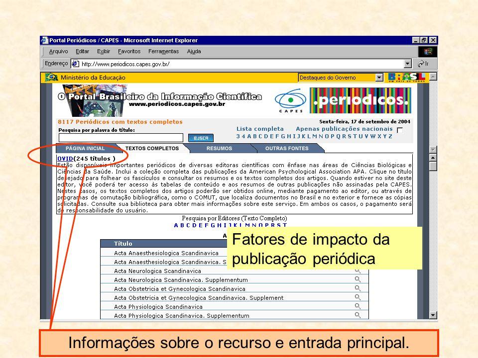 Informações sobre o recurso e entrada principal.