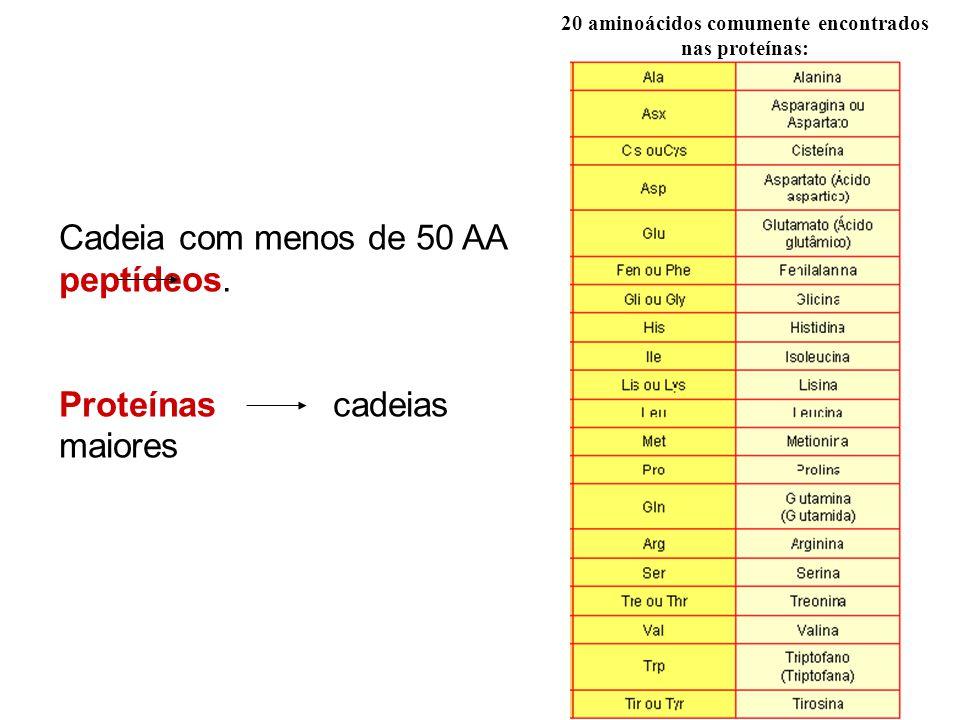 20 aminoácidos comumente encontrados nas proteínas: