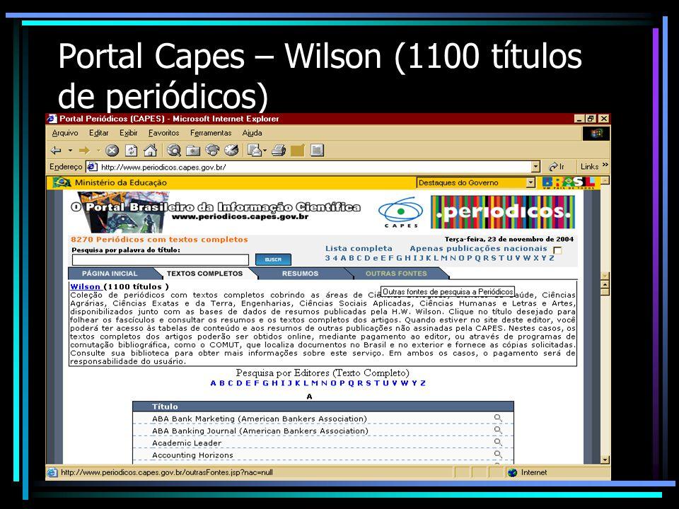 Portal Capes – Wilson (1100 títulos de periódicos)