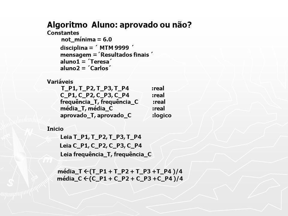 Algoritmo Aluno: aprovado ou não