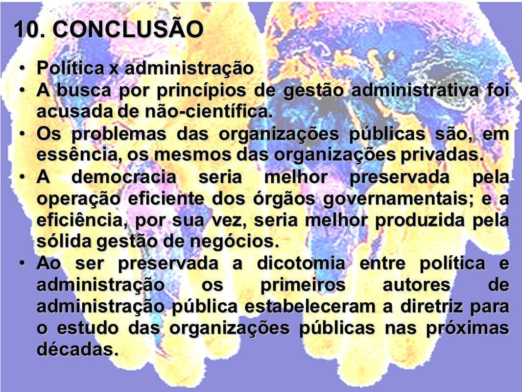 10. CONCLUSÃO Política x administração