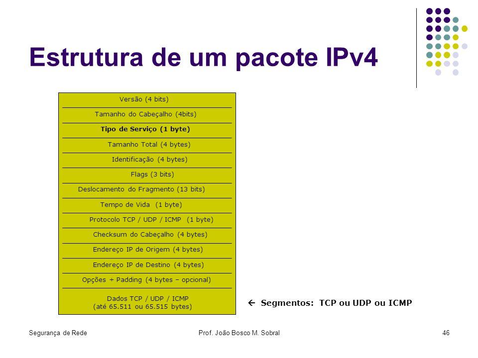 Estrutura de um pacote IPv4