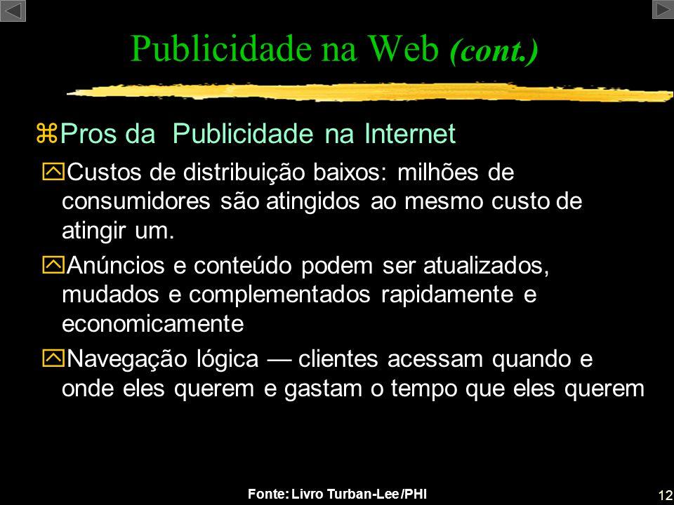 Publicidade na Web (cont.)
