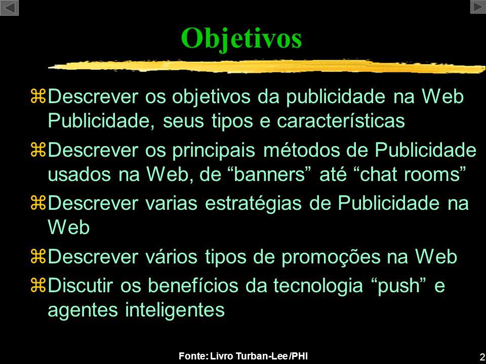Objetivos Descrever os objetivos da publicidade na Web Publicidade, seus tipos e características.