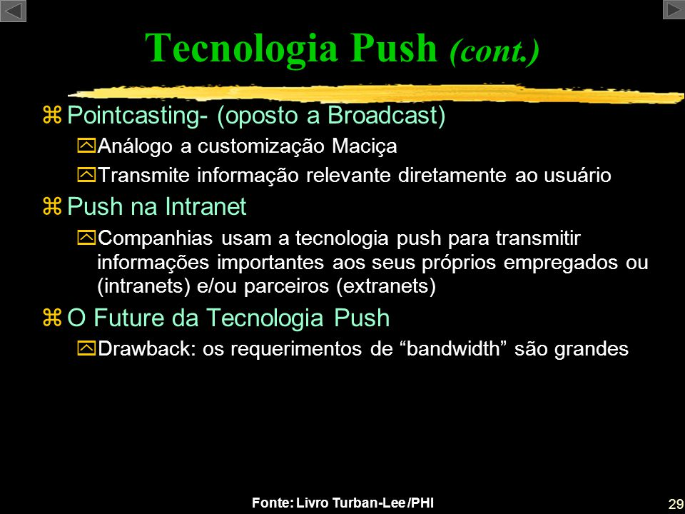 Tecnologia Push (cont.)