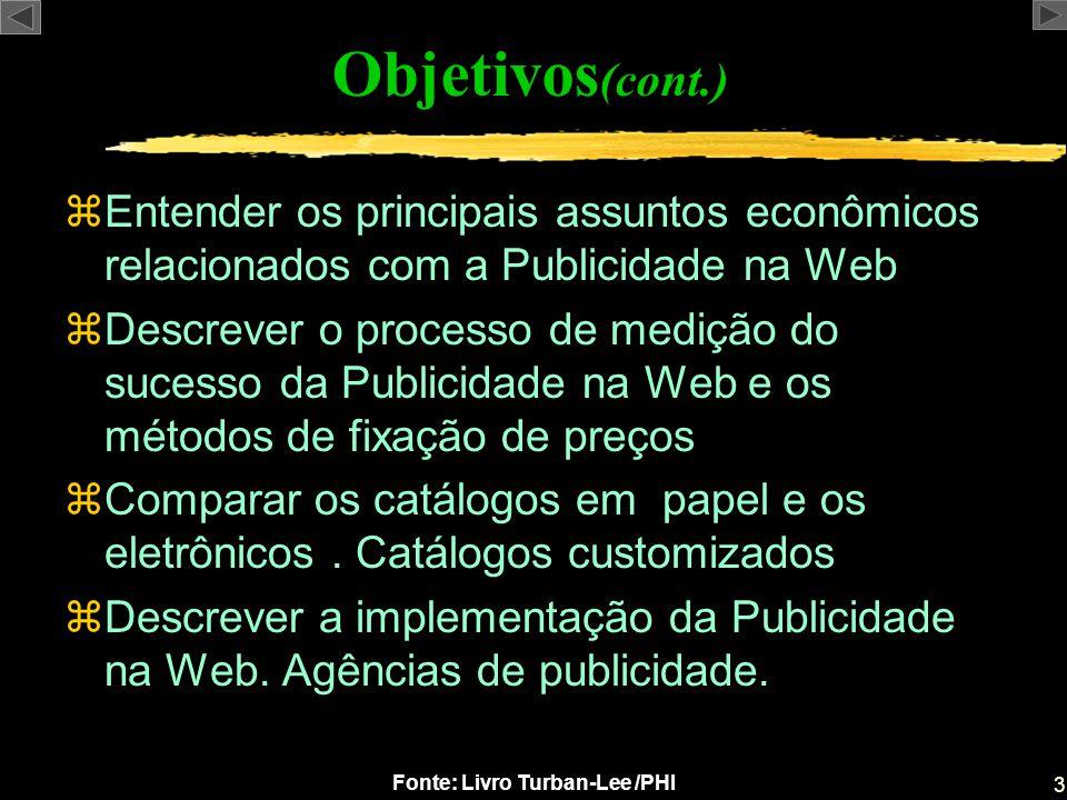 Objetivos(cont.) Entender os principais assuntos econômicos relacionados com a Publicidade na Web.