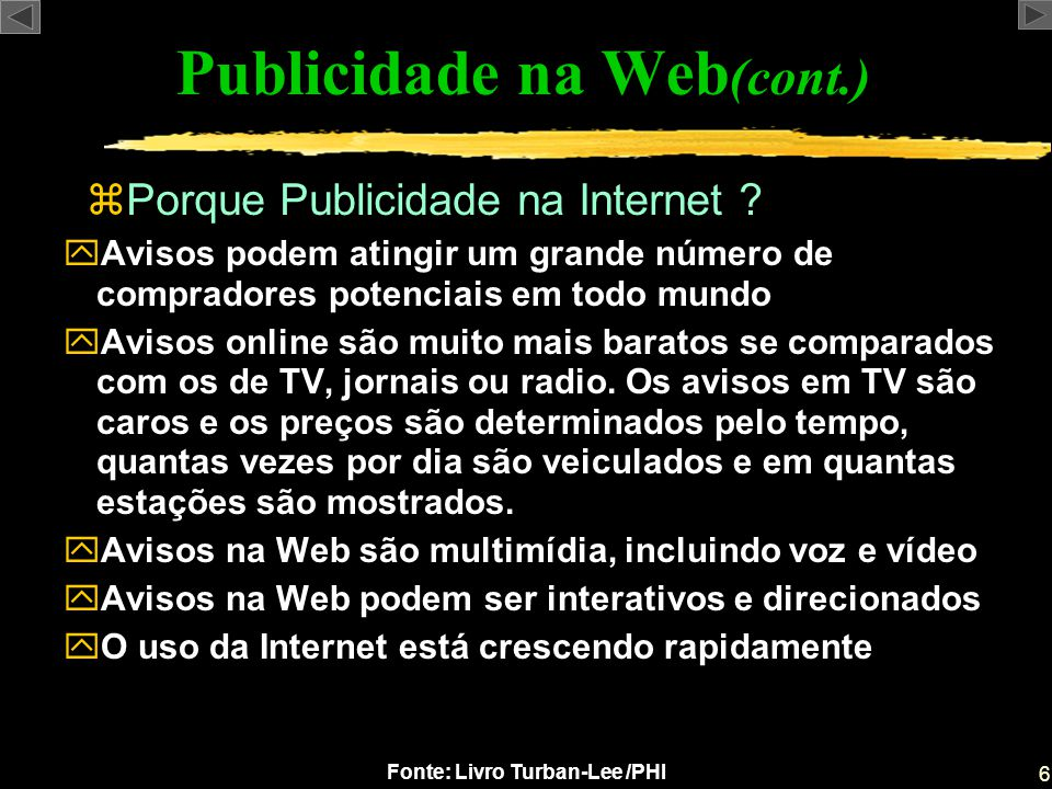 Publicidade na Web(cont.)