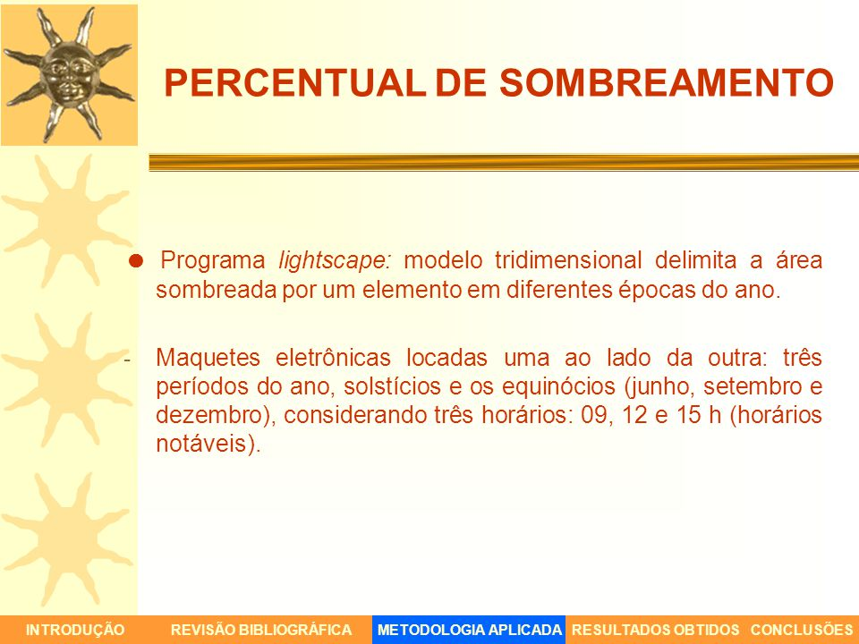 PERCENTUAL DE SOMBREAMENTO