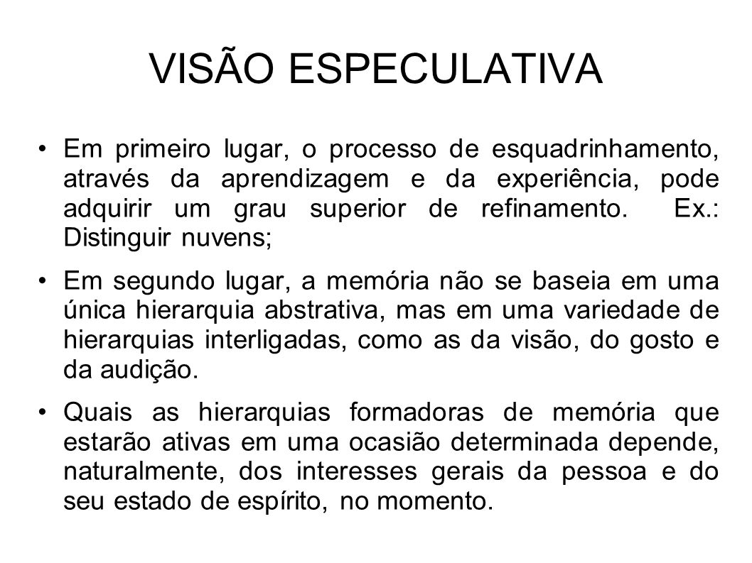 VISÃO ESPECULATIVA