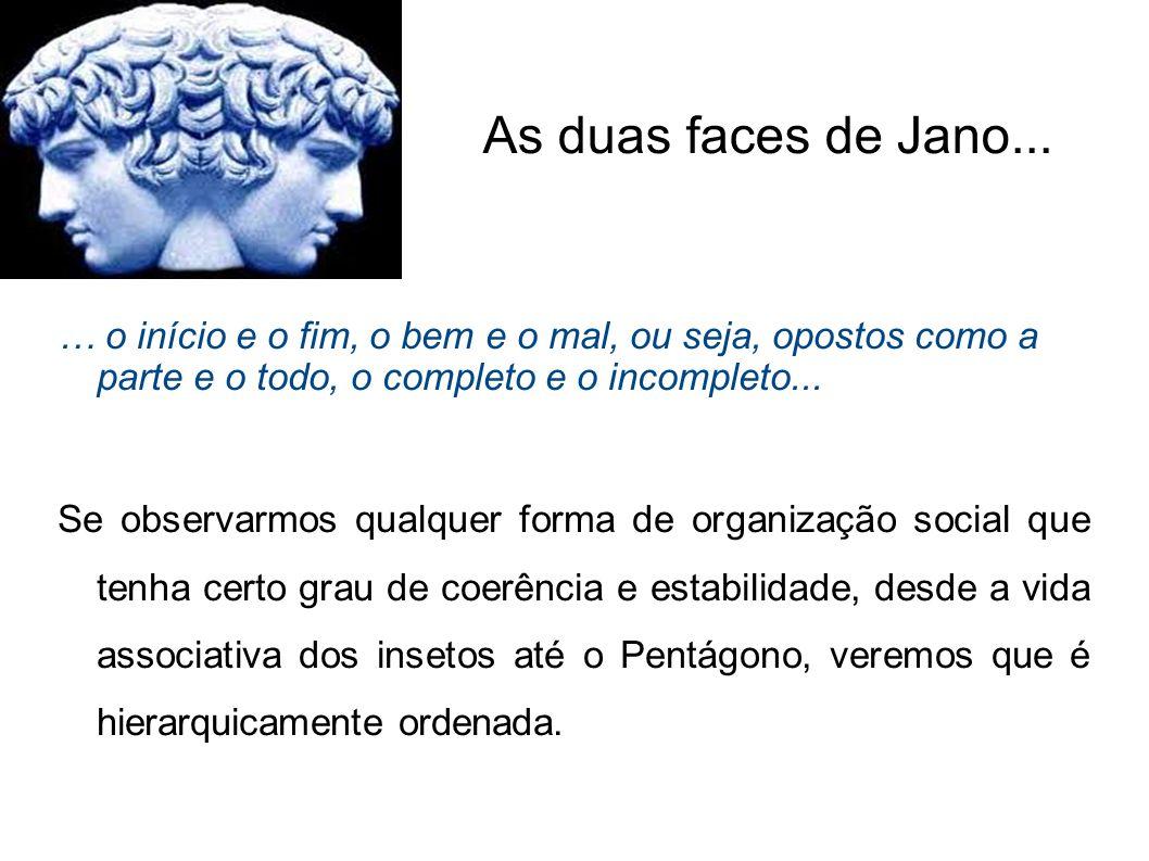 As duas faces de Jano... … o início e o fim, o bem e o mal, ou seja, opostos como a parte e o todo, o completo e o incompleto...