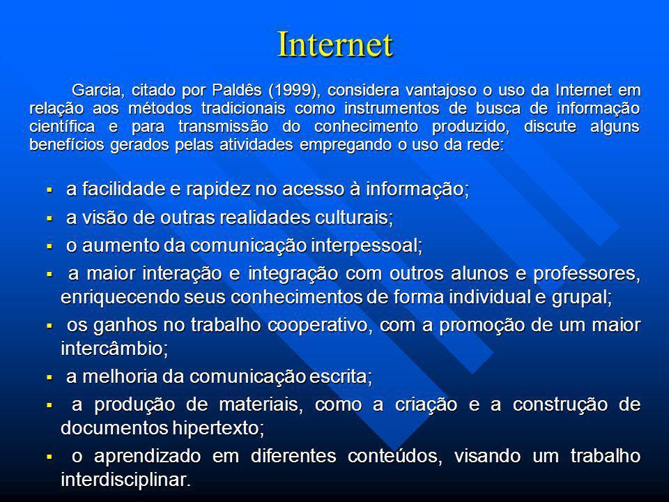 Internet a facilidade e rapidez no acesso à informação;