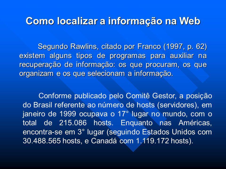 Como localizar a informação na Web