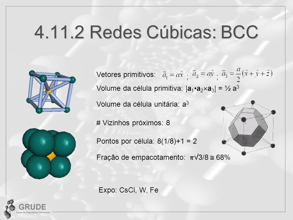 4.11.2 Redes Cúbicas: BCC Vetores primitivos: ; ;