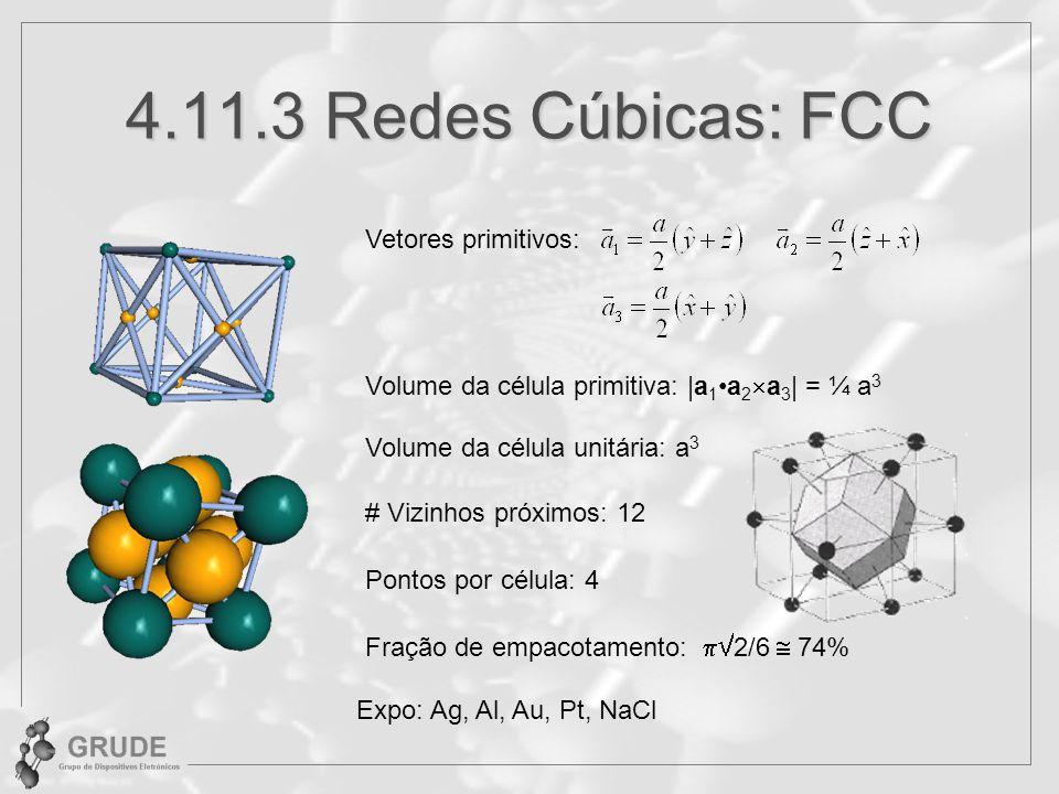 4.11.3 Redes Cúbicas: FCC Vetores primitivos: