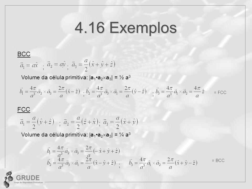 4.16 Exemplos BCC ; ; ; ; FCC ; ; ;