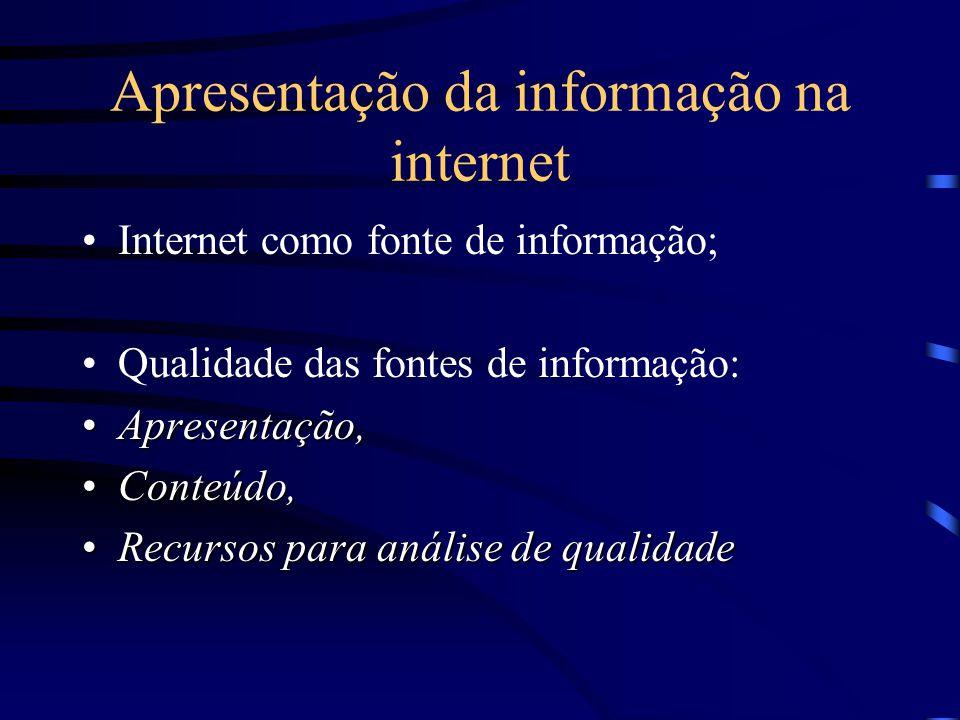 Apresentação da informação na internet