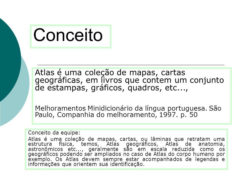 Conceito Atlas é uma coleção de mapas, cartas geográficas, em livros que contem um conjunto de estampas, gráficos, quadros, etc...,