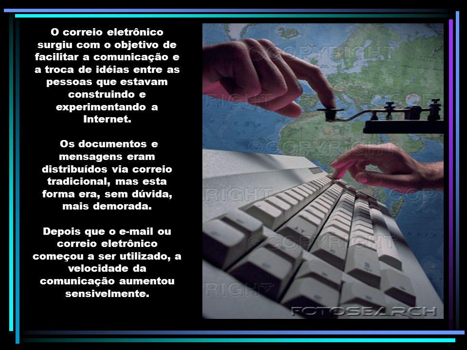 O correio eletrônico surgiu com o objetivo de facilitar a comunicação e a troca de idéias entre as pessoas que estavam construindo e experimentando a Internet.