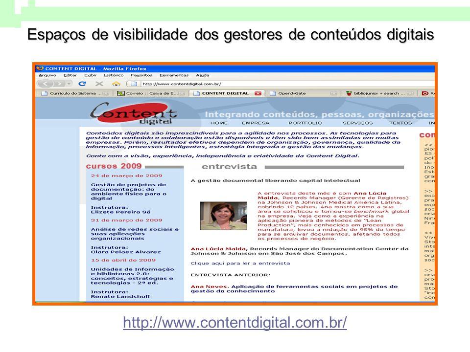 Espaços de visibilidade dos gestores de conteúdos digitais