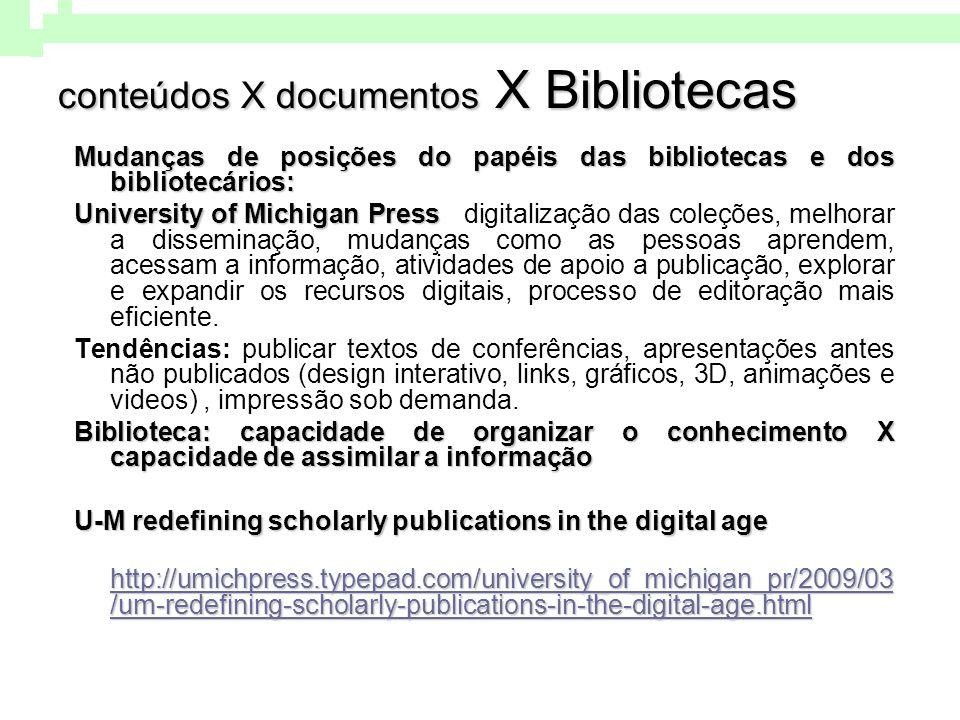 conteúdos X documentos X Bibliotecas