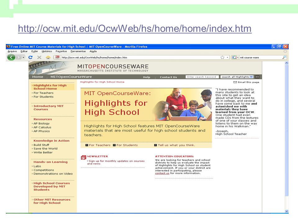 http://ocw.mit.edu/OcwWeb/hs/home/home/index.htm