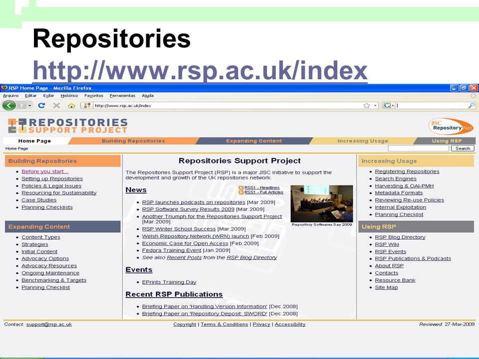 Repositories http://www.rsp.ac.uk/index