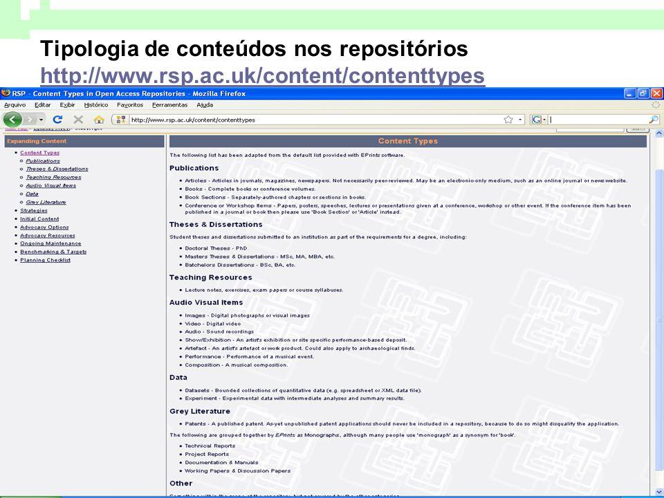 Tipologia de conteúdos nos repositórios http://www. rsp. ac