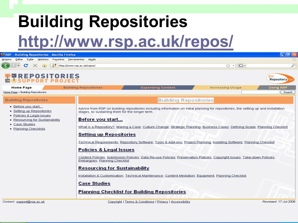 Building Repositories http://www.rsp.ac.uk/repos/