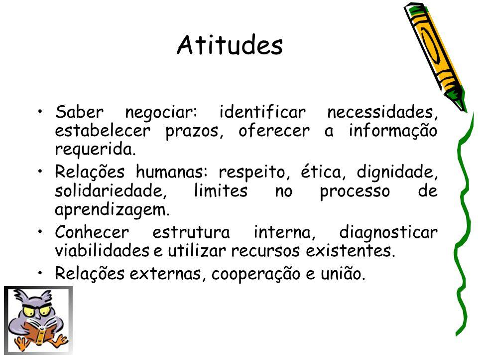 Atitudes Saber negociar: identificar necessidades, estabelecer prazos, oferecer a informação requerida.