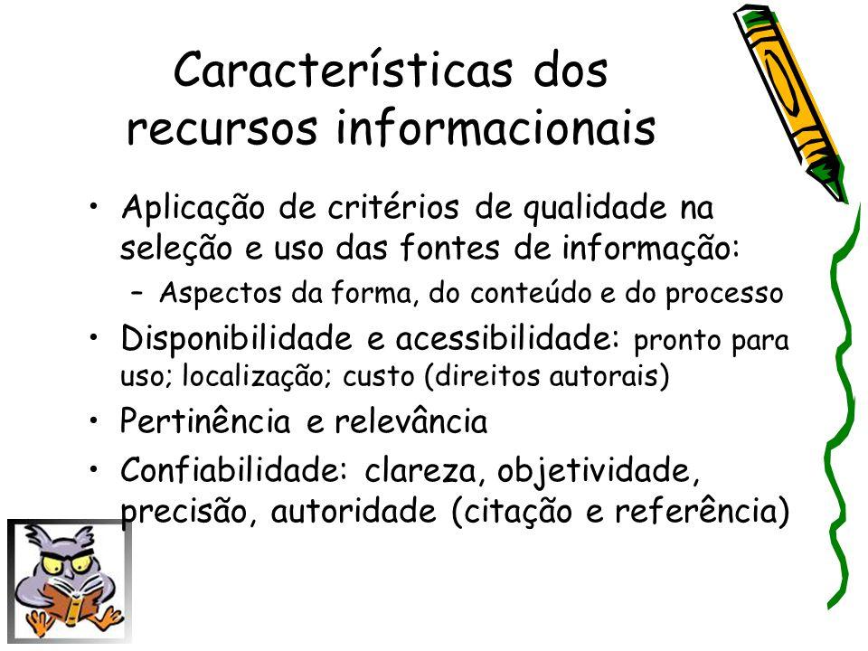Características dos recursos informacionais