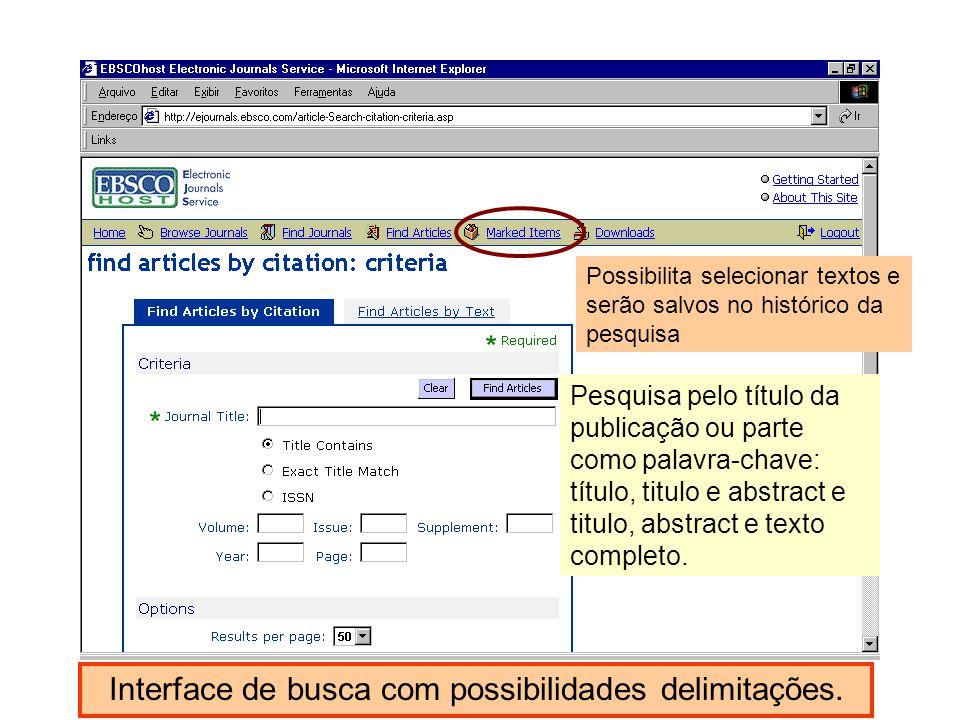 Interface de busca com possibilidades delimitações.