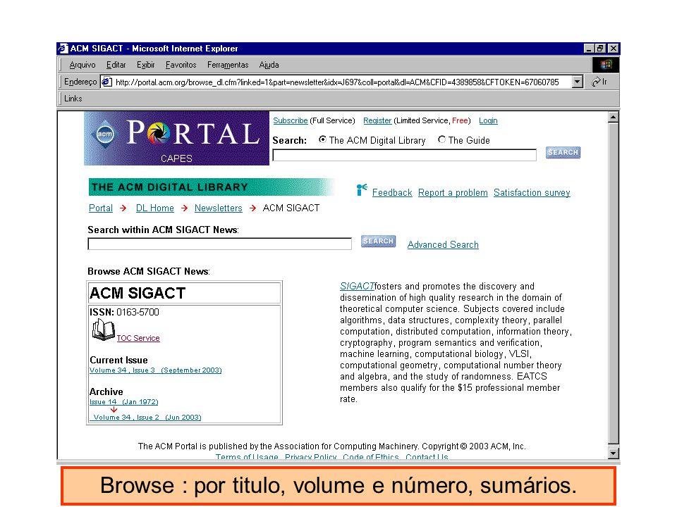 Browse : por titulo, volume e número, sumários.