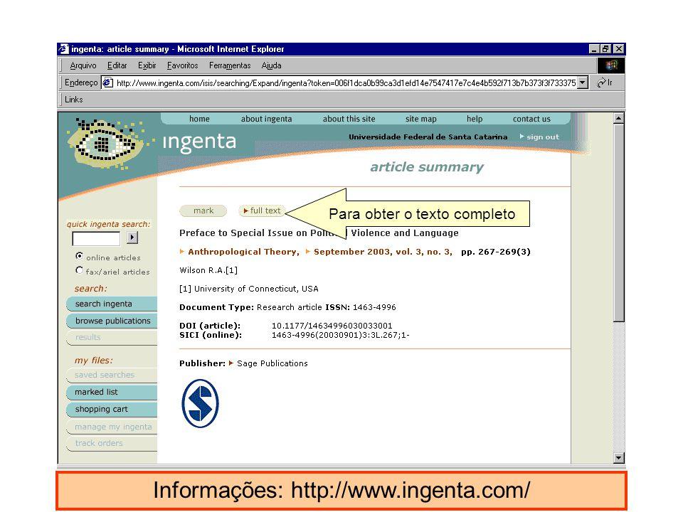 Informações: http://www.ingenta.com/