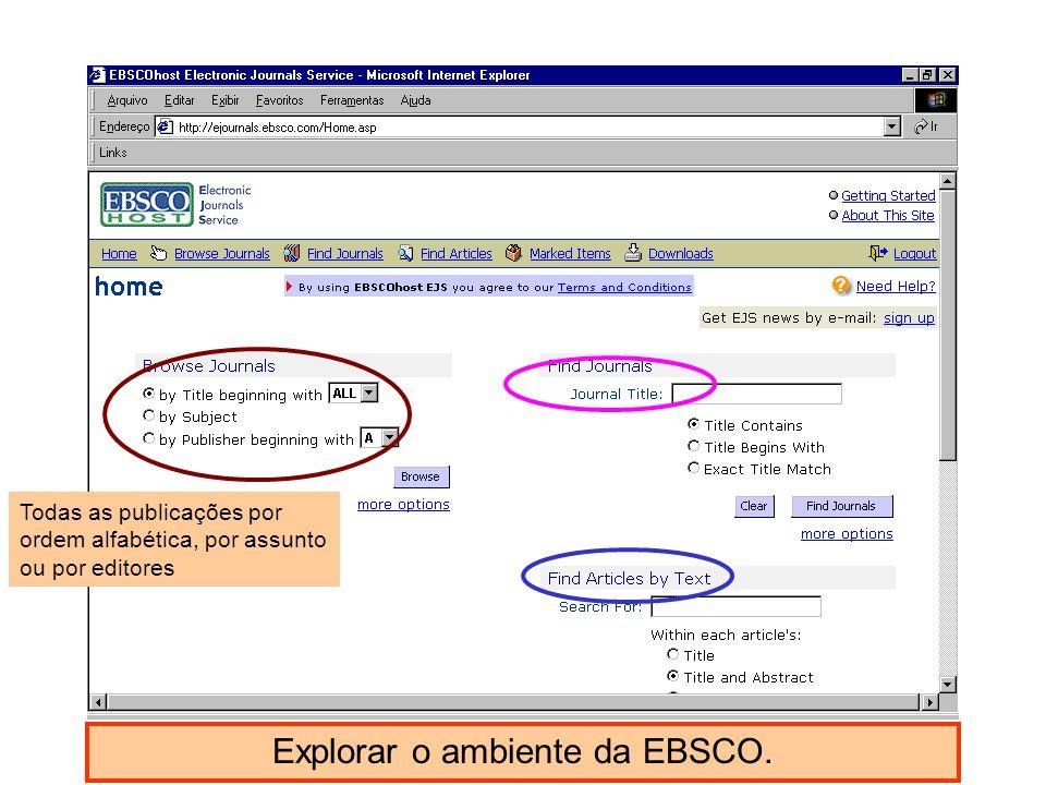 Explorar o ambiente da EBSCO.