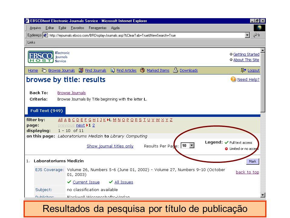 Resultados da pesquisa por título de publicação