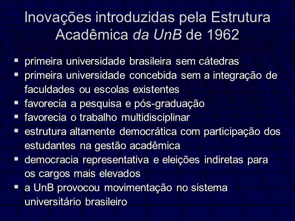 Inovações introduzidas pela Estrutura Acadêmica da UnB de 1962