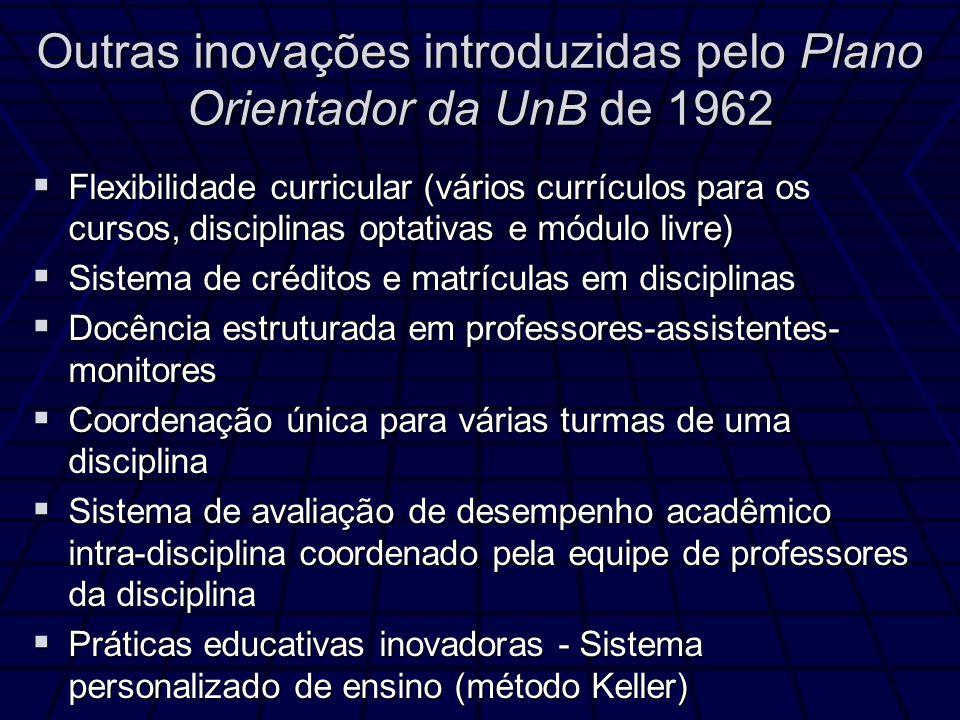 Outras inovações introduzidas pelo Plano Orientador da UnB de 1962