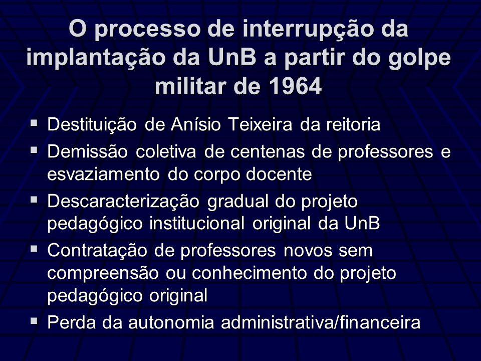 O processo de interrupção da implantação da UnB a partir do golpe militar de 1964