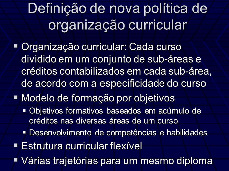Definição de nova política de organização curricular