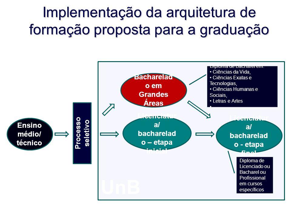 Implementação da arquitetura de formação proposta para a graduação