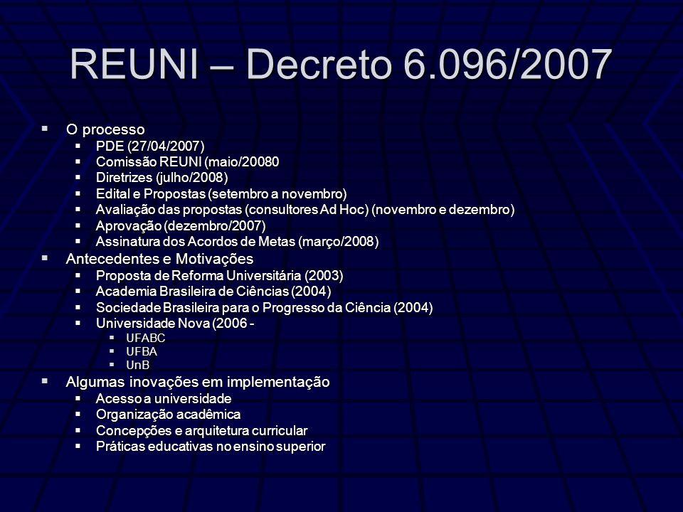 REUNI – Decreto 6.096/2007 O processo Antecedentes e Motivações