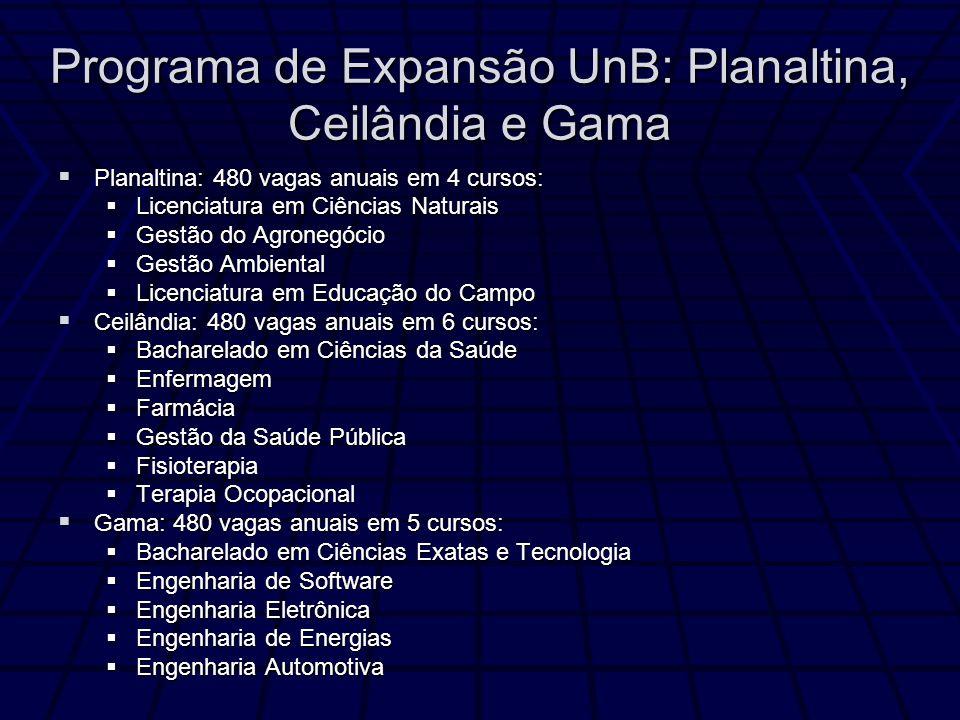 Programa de Expansão UnB: Planaltina, Ceilândia e Gama