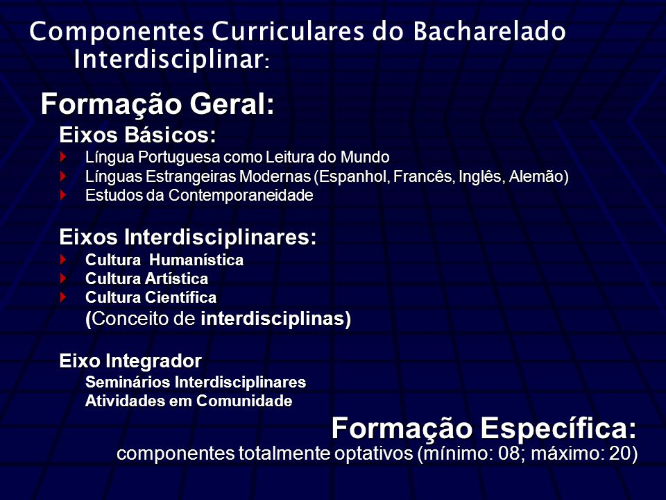 Componentes Curriculares do Bacharelado Interdisciplinar: