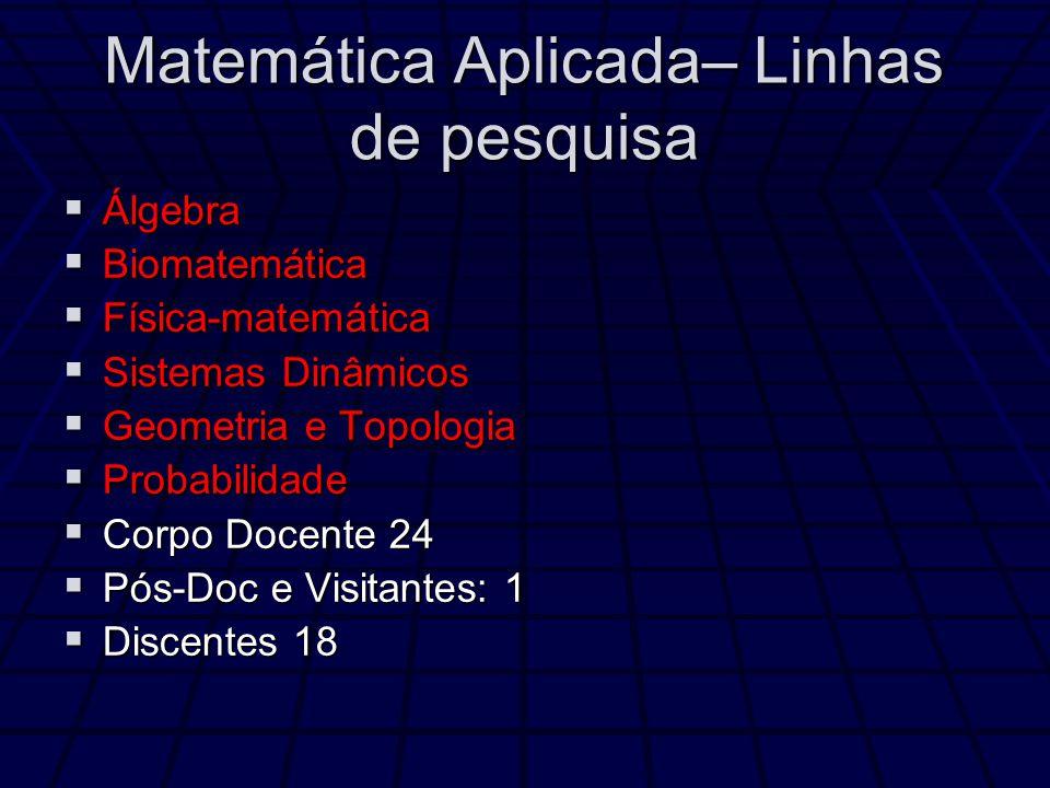 Matemática Aplicada– Linhas de pesquisa