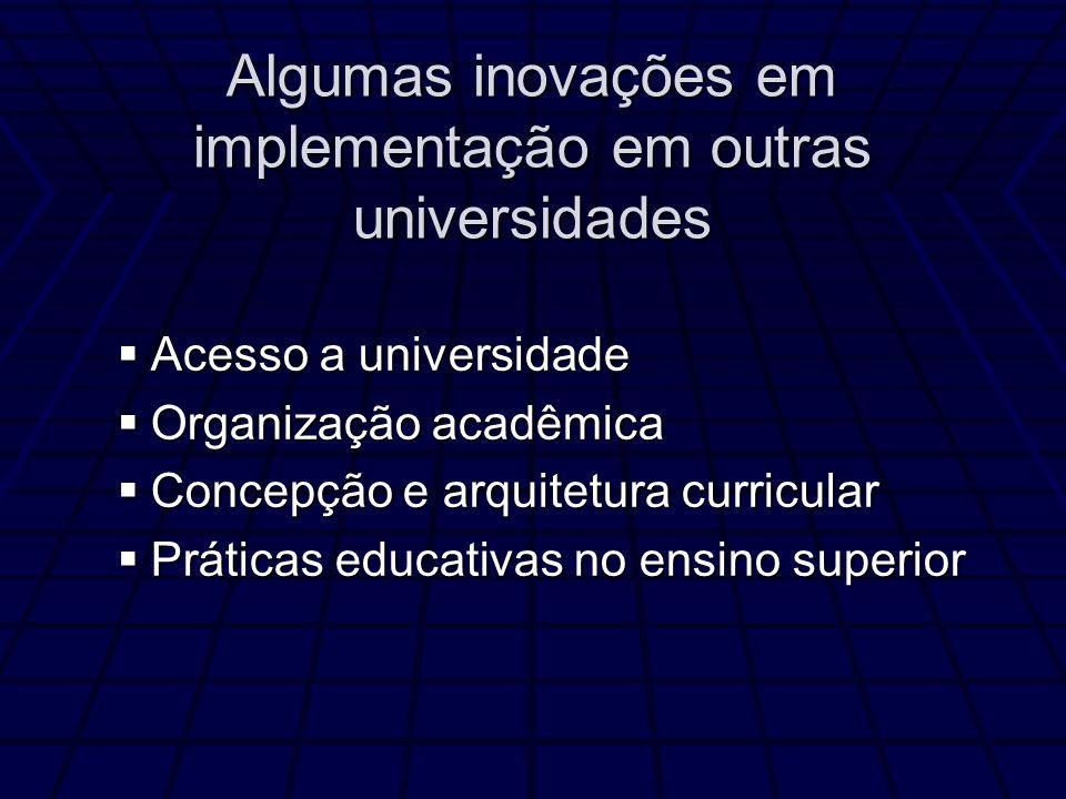 Algumas inovações em implementação em outras universidades