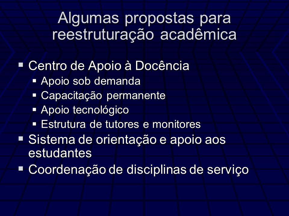 Algumas propostas para reestruturação acadêmica