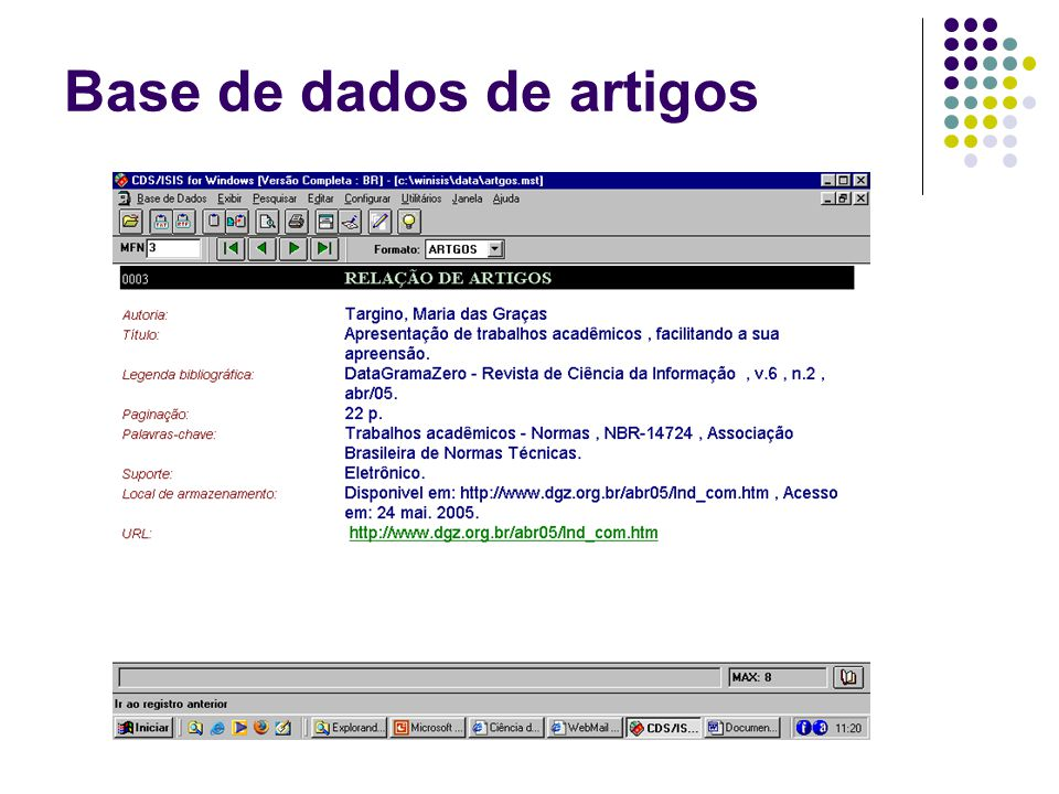 Base de dados de artigos