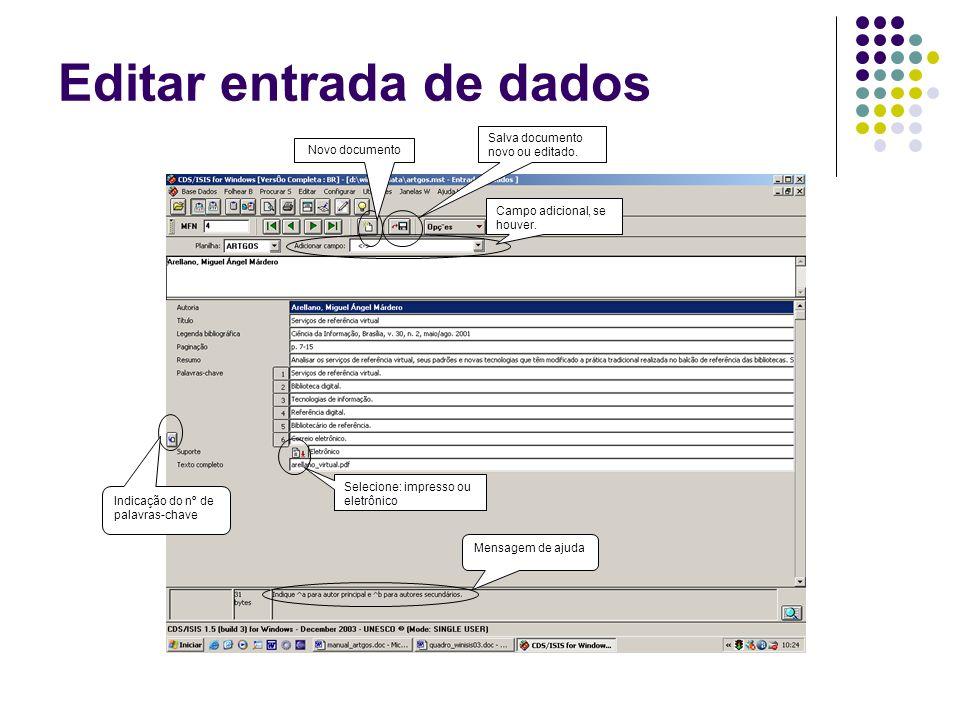 Editar entrada de dados