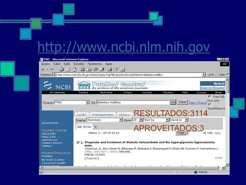http://www.ncbi.nlm.nih.gov RESULTADOS:3114 APROVEITADOS:3