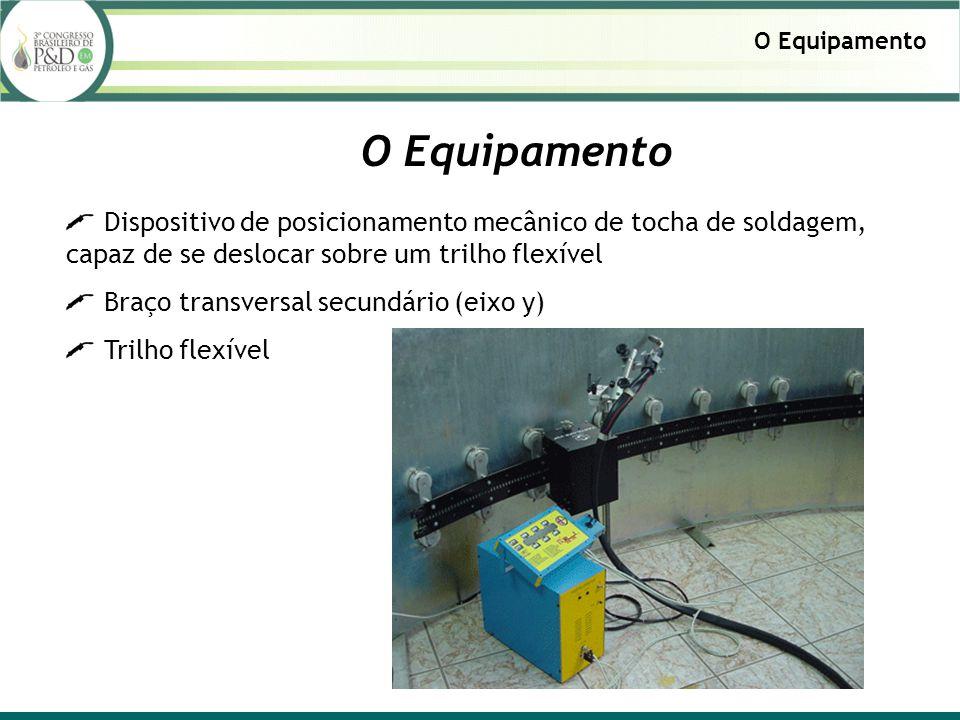 O Equipamento O Equipamento. Dispositivo de posicionamento mecânico de tocha de soldagem, capaz de se deslocar sobre um trilho flexível.